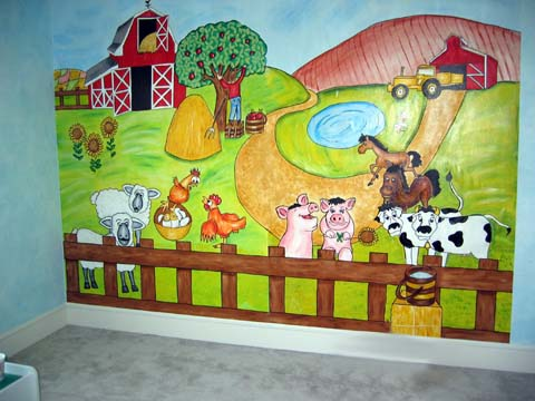 All kids murals father and son mural for Barnyard wall mural