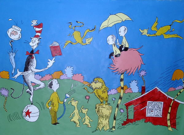 All kids murals dr seuss mural with characters from the for Dr seuss mural