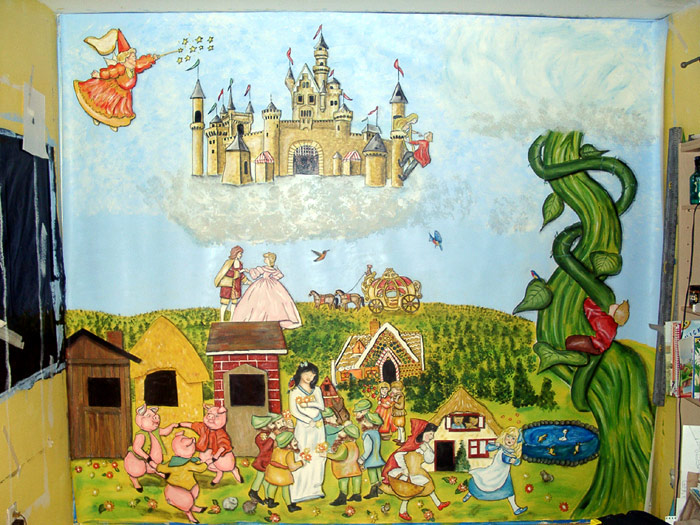All kids murals fairy tales mural three little pigs for Fairy castle mural